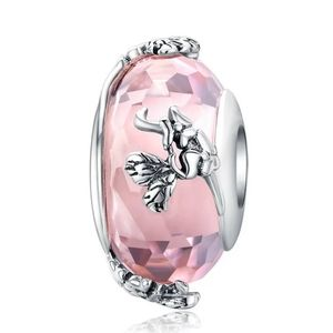 925 Sterling Silver Pink Glass Bead Charm